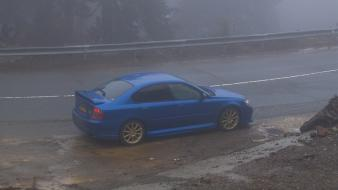 Fog subaru roads vehicles side view legacy Wallpaper