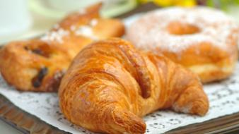 Food bread croissants french cake wallpaper