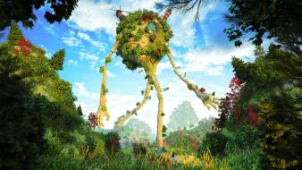 Forests surreal fantasy art barn farm wallpaper