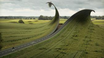 Grass surrealism surreal roads artwork photomanipulation wallpaper