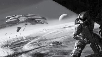 Halo master chief grayscale Wallpaper