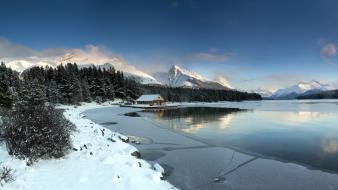 Ice mountains landscapes snow trees lakes wallpaper