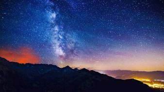 Landscapes dawn stars milky way wallpaper