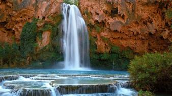 Landscapes nature forests cliffs falls waterfalls creek wallpaper