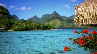 Landscapes nature french polynesia lagoon bora Wallpaper