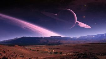 Landscapes stars planets digital art creative wallpaper