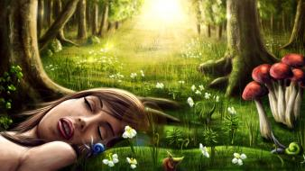 Magic elves dreams sleeping digital art artwork wallpaper