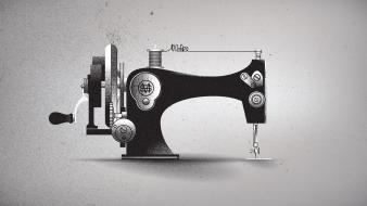 Minimalistic typography grayscale artwork machinery creativity sewing machine wallpaper