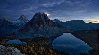 Mountains clouds landscapes canada lakes dawn summers wallpaper