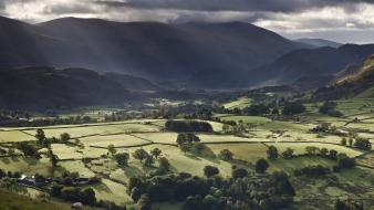 Mountains landscapes trees england fields hills sunlight crops wallpaper