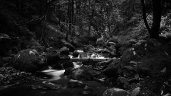 Nature black stones streams creek wallpaper
