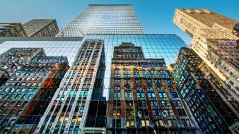 New york city skyscrapers reflections low-angle shot wallpaper