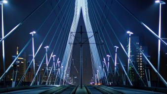 Night lights bridges holland rotterdam the netherlands erasmusbrug wallpaper