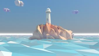 Ocean clouds sea low poly wallpaper