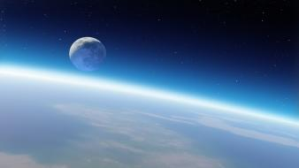 Outer space moon earth Wallpaper