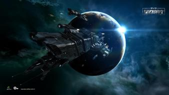 Outer space planets eve online spaceships game wallpaper