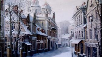 Paintings snow cityscapes artwork village wallpaper