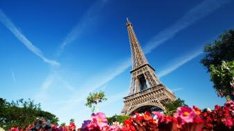 Paris cityscapes flowers france skyscapes cities towers Wallpaper