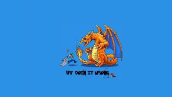 Pokemon minimalistic dragons funny charizard blue background wallpaper