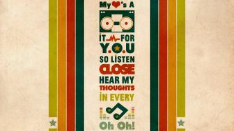 Retro typography stereo lyrics stripes musical notes wallpaper
