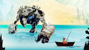 Robots fantasy art boats fishing cassie tonks sea wallpaper