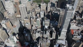 Shadows new york city rooftops empire state building wallpaper