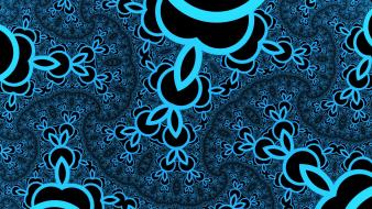 Shapes psychedelic artwork flourescent black and blue wallpaper