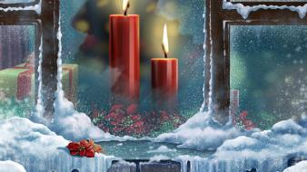 Snow presents christmas window panes candles wallpaper