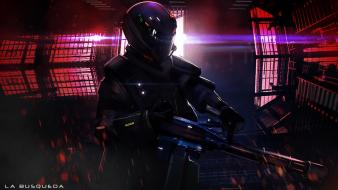 Soldiers futuristic weapons armor artwork wallpaper