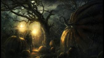 Trees dark forest halloween pumpkins radojavor wallpaper