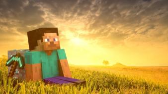 Video games landscapes steve minecraft wallpaper