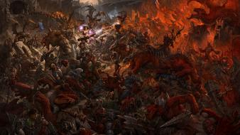 War monsters fantasy art magic battles warriors wallpaper
