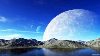 Water mountains moon creative wallpaper