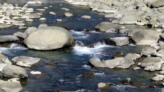 Water nature rocks stones streams wallpaper