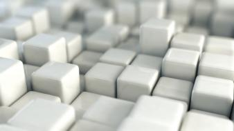 White cubes 3d rendering boxes wallpaper