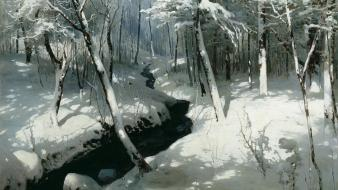 Winter snow creek wallpaper