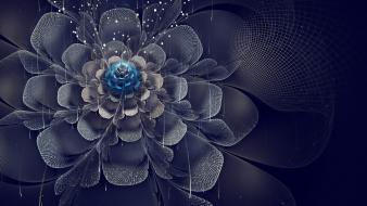 Abstract digital art crystal flowers wallpaper