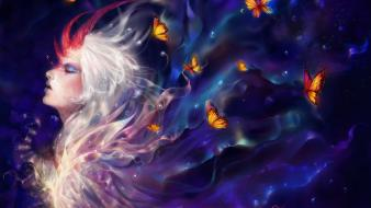 Art artwork closed eyes white hair butterflies wallpaper