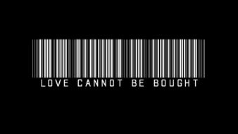 Black and white love minimalistic typography barcode wallpaper