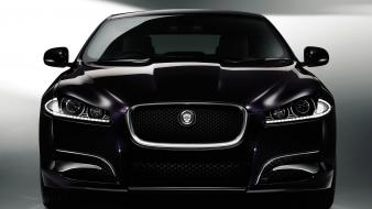 Black cars purple vehicles jaguar xf front view Wallpaper