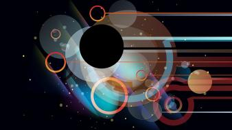 Circles shapes graphics black background vector art Wallpaper