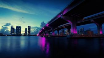 Cityscapes bridges miami city lights dusk wallpaper