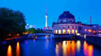 Cityscapes night lights buildings berlin reflections bode museum wallpaper