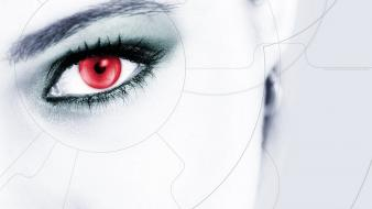 Close-up futuristic red eyes cyber girls wallpaper