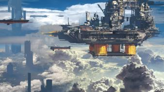 Clouds futuristic artwork cities wallpaper