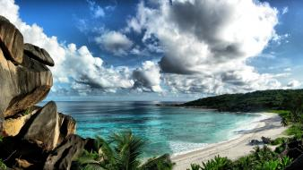 Clouds landscapes nature beach seychelles wallpaper