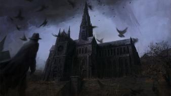 Dark night cathedral abandoned wallpaper