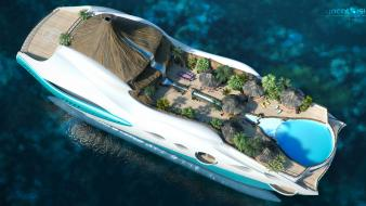 Design boats yachts 3d luxury tropical island wallpaper