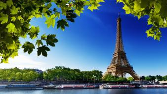 Eiffel tower paris leaves summer cities wallpaper
