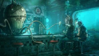 Fantasy art deep sea underwater bars Wallpaper